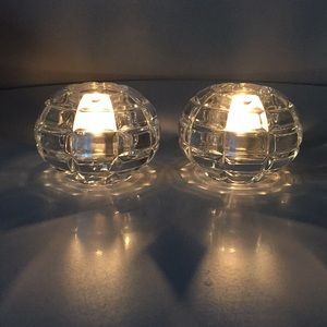 Orrefors Sweden Crystal Votive Candle Holders